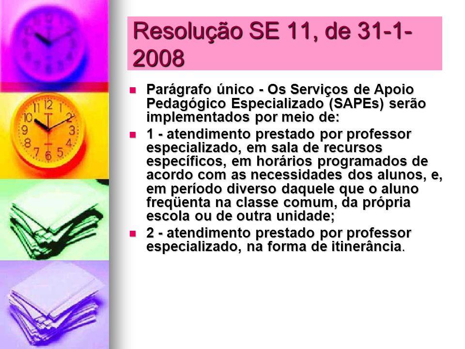 Resolução SE 11, de 31-1-2008Parágrafo único - Os Serviços de Apoio Pedagógico Especializado (SAPEs) serão implementados por meio de: