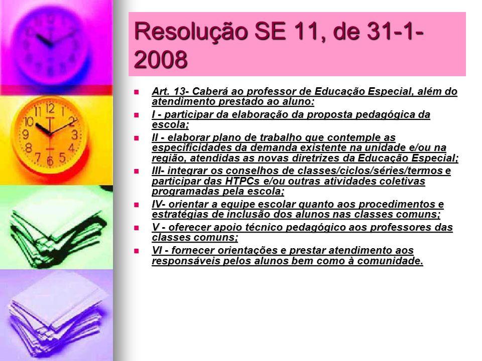 Resolução SE 11, de 31-1-2008Art. 13- Caberá ao professor de Educação Especial, além do atendimento prestado ao aluno: