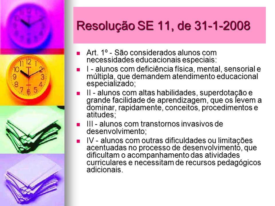 Resolução SE 11, de 31-1-2008Art. 1º - São considerados alunos com necessidades educacionais especiais: