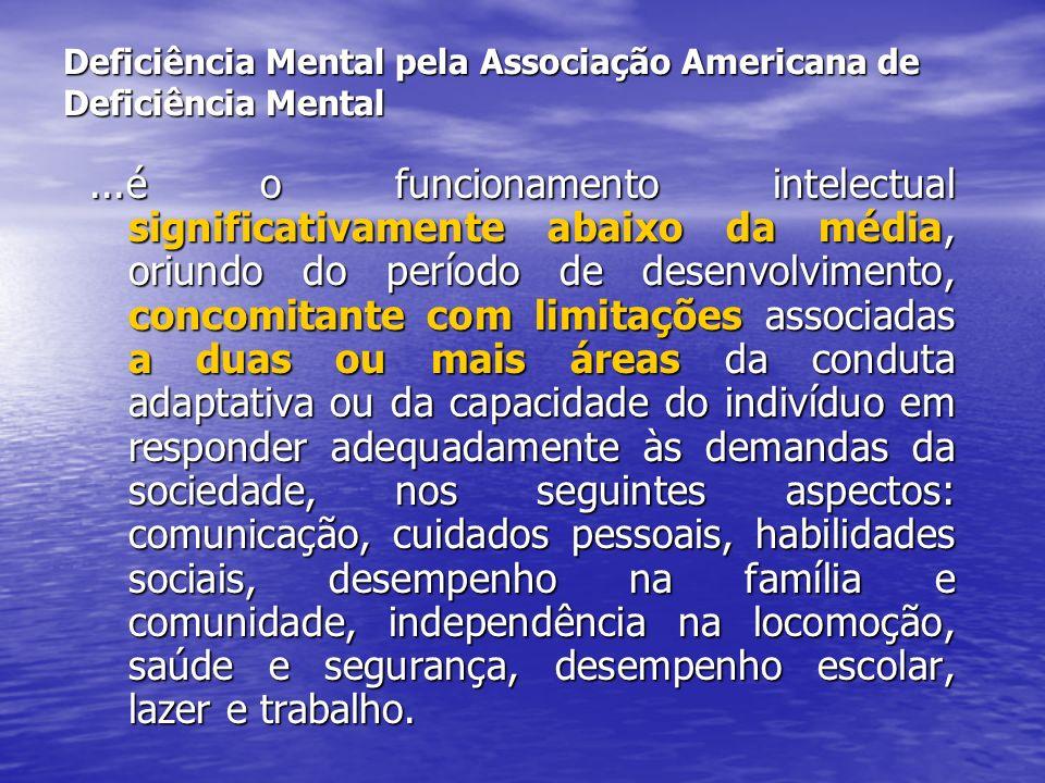 Deficiência Mental pela Associação Americana de Deficiência Mental