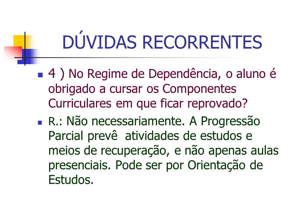 DÚVIDAS RECORRENTES 4 ) No Regime de Dependência, o aluno é obrigado a cursar os Componentes Curriculares em que ficar reprovado