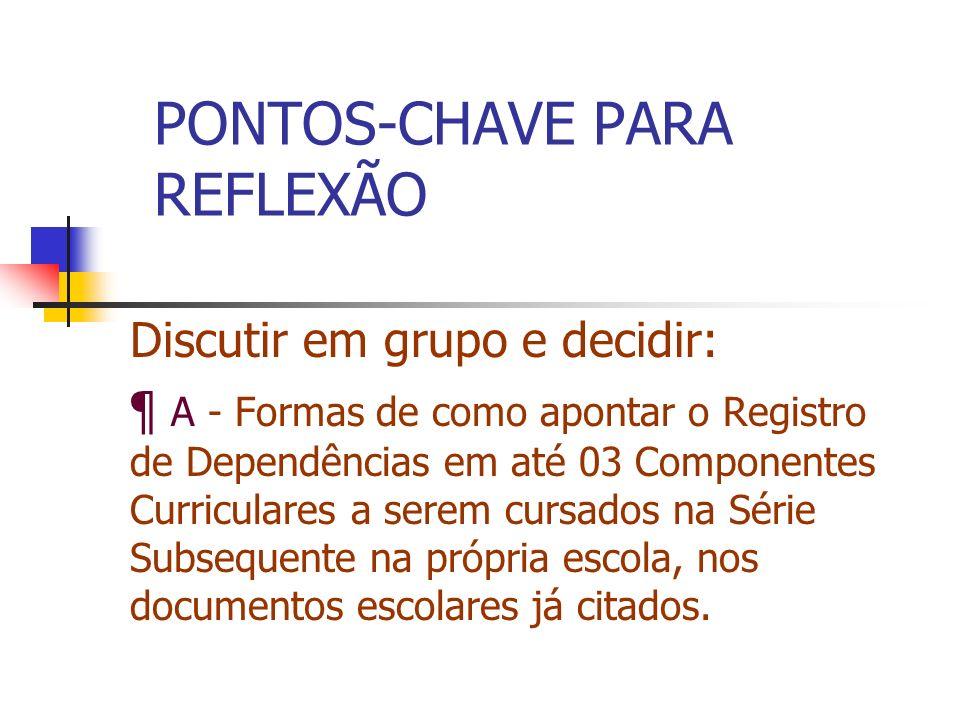 PONTOS-CHAVE PARA REFLEXÃO
