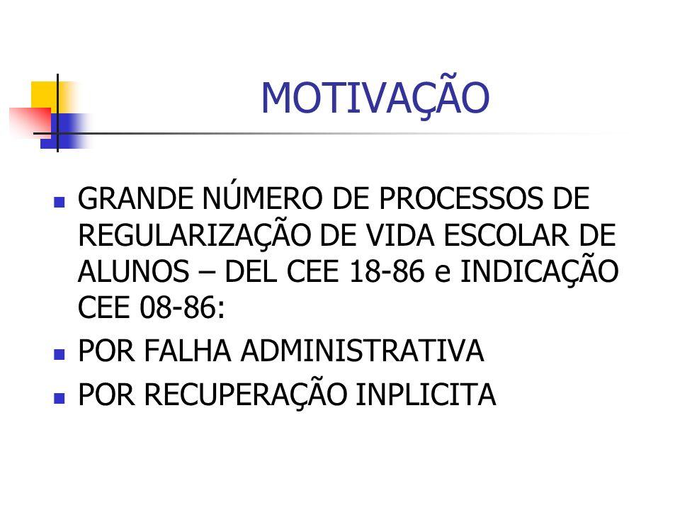 MOTIVAÇÃO GRANDE NÚMERO DE PROCESSOS DE REGULARIZAÇÃO DE VIDA ESCOLAR DE ALUNOS – DEL CEE 18-86 e INDICAÇÃO CEE 08-86: