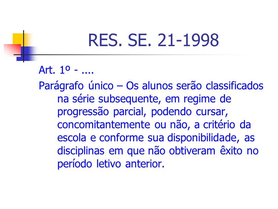 RES. SE. 21-1998Art. 1º - ....