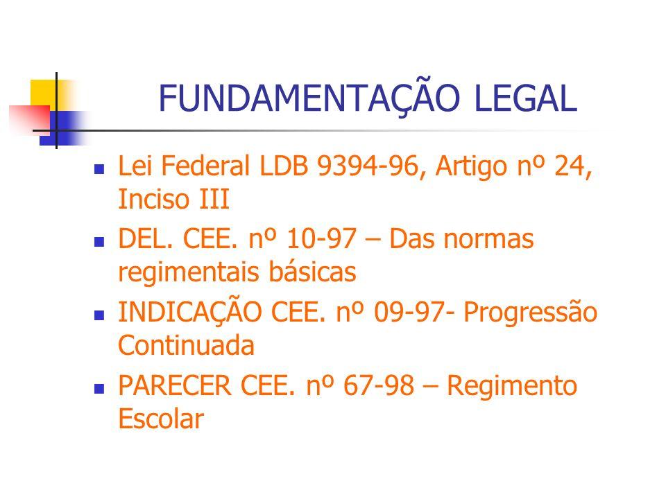 FUNDAMENTAÇÃO LEGAL Lei Federal LDB 9394-96, Artigo nº 24, Inciso III