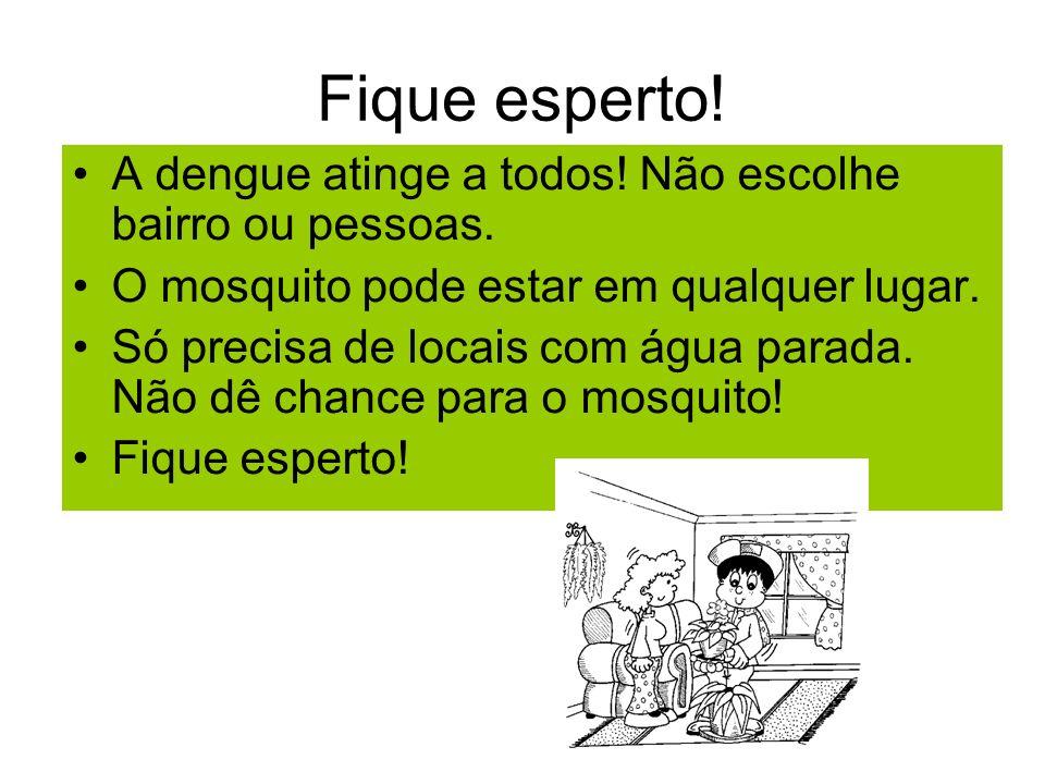 Fique esperto! A dengue atinge a todos! Não escolhe bairro ou pessoas.