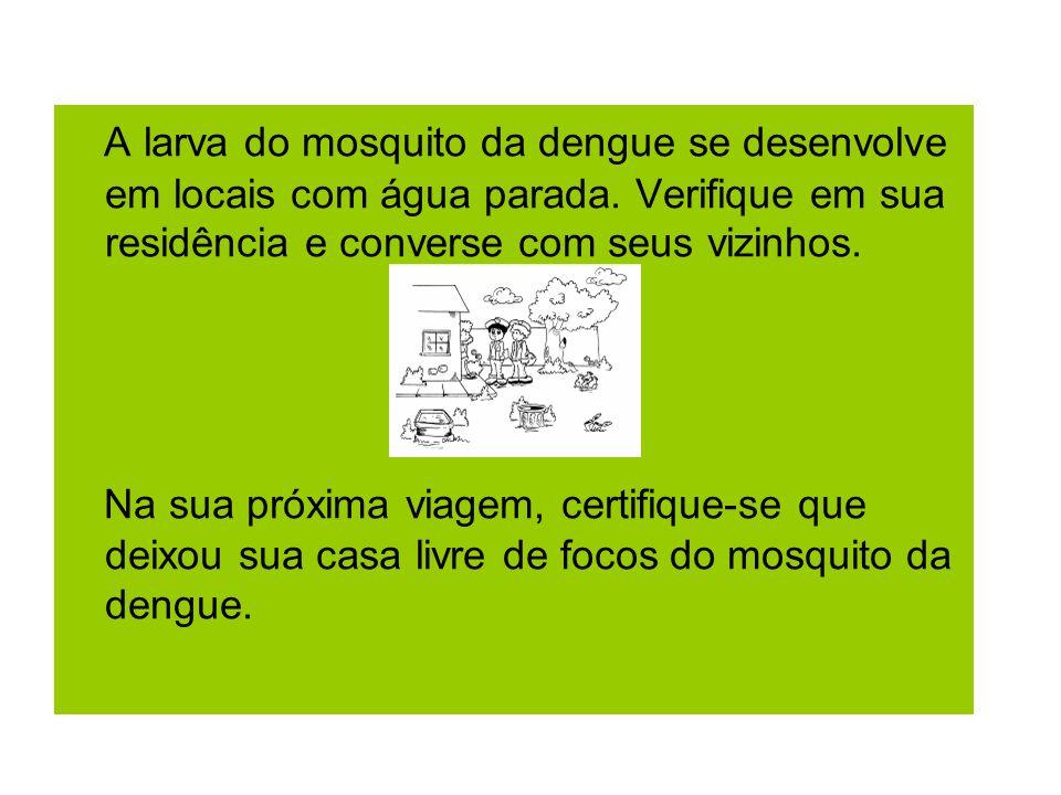 A larva do mosquito da dengue se desenvolve em locais com água parada