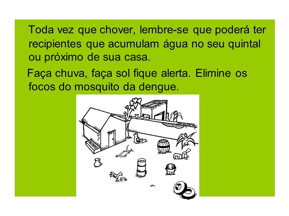 Toda vez que chover, lembre-se que poderá ter recipientes que acumulam água no seu quintal ou próximo de sua casa.
