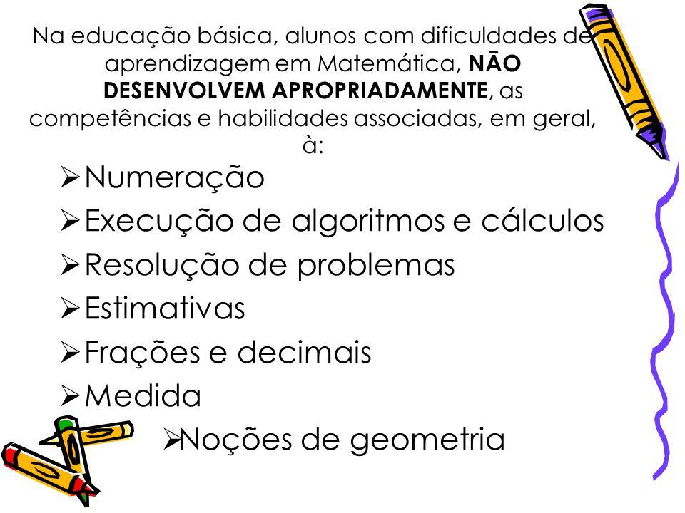 Execução de algoritmos e cálculos Resolução de problemas Estimativas
