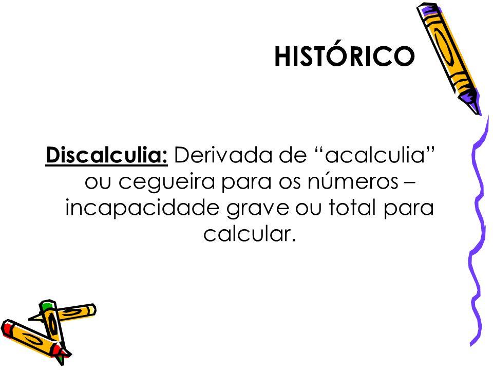 HISTÓRICODiscalculia: Derivada de acalculia ou cegueira para os números – incapacidade grave ou total para calcular.