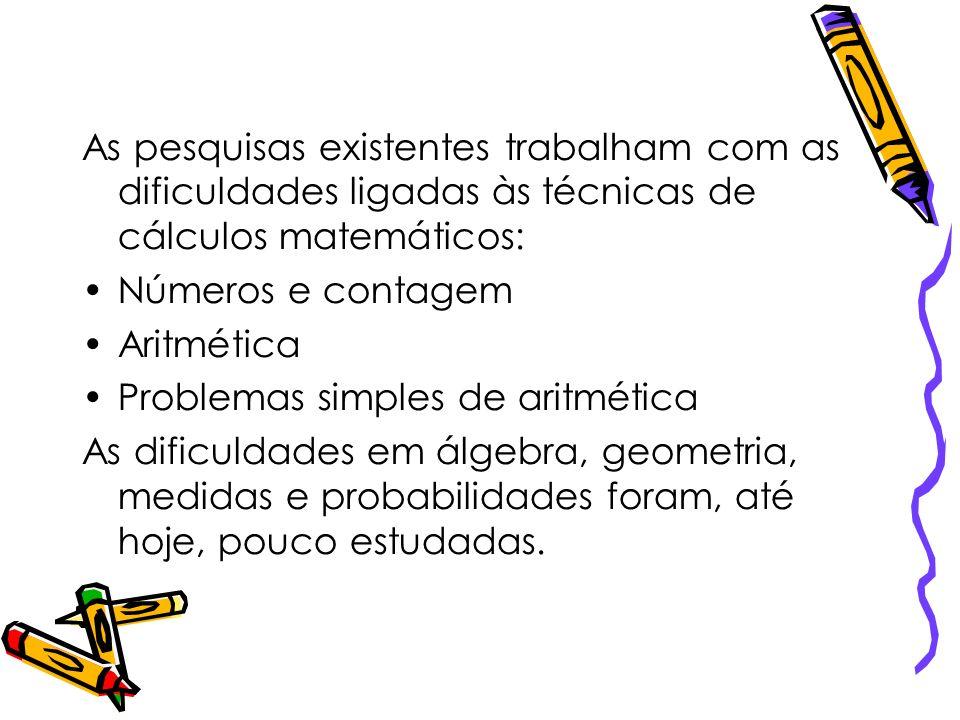 As pesquisas existentes trabalham com as dificuldades ligadas às técnicas de cálculos matemáticos: