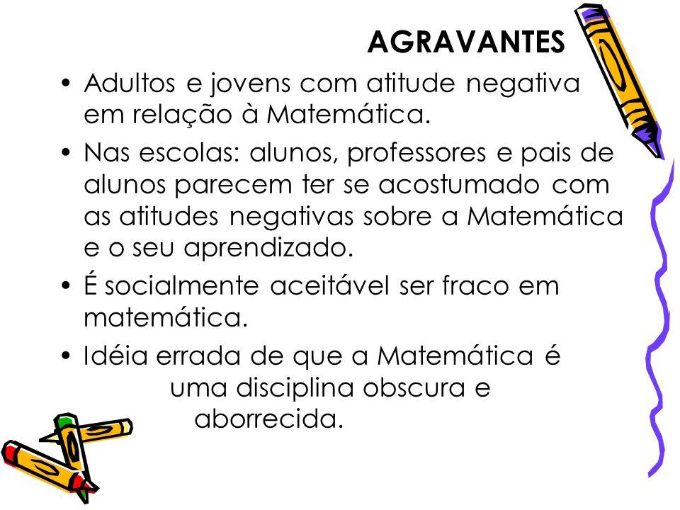 AGRAVANTESAdultos e jovens com atitude negativa em relação à Matemática.