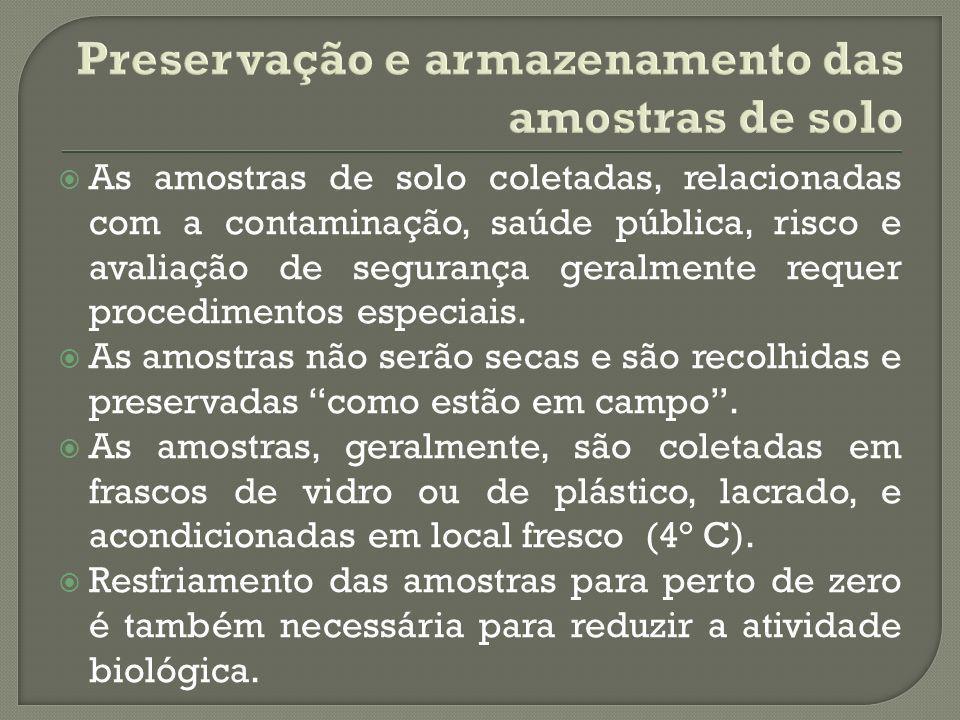 Preservação e armazenamento das amostras de solo
