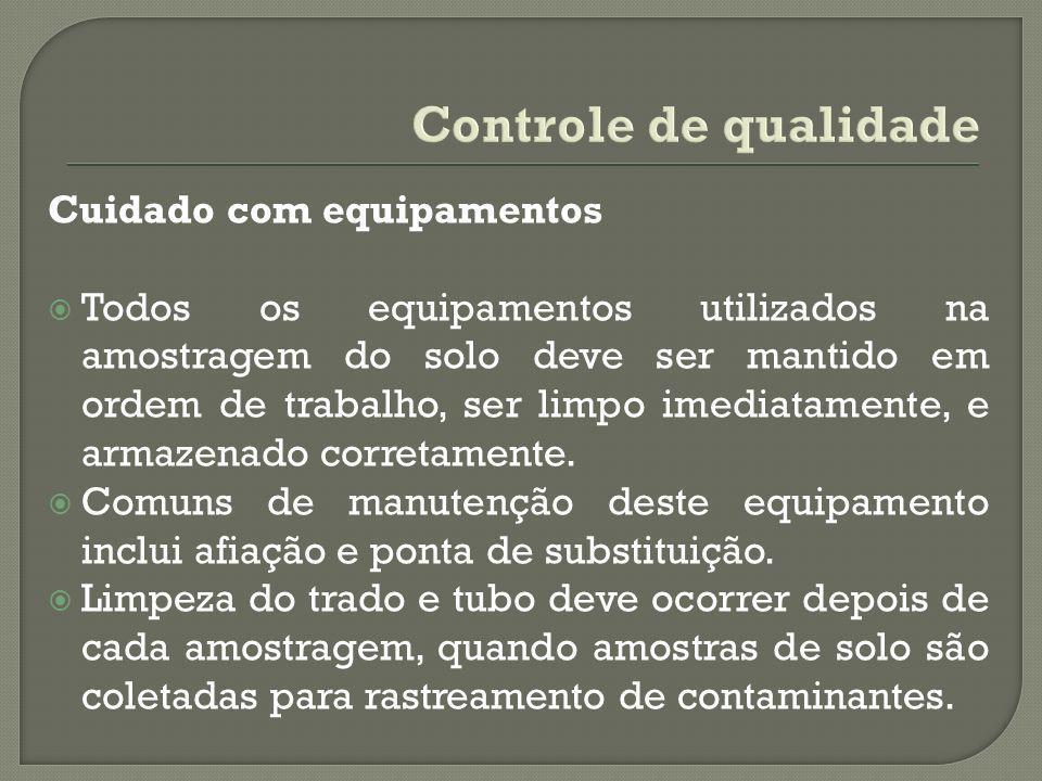 Controle de qualidade Cuidado com equipamentos