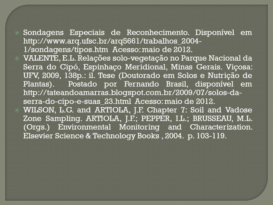 Sondagens Especiais de Reconhecimento. Disponível em http://www. arq