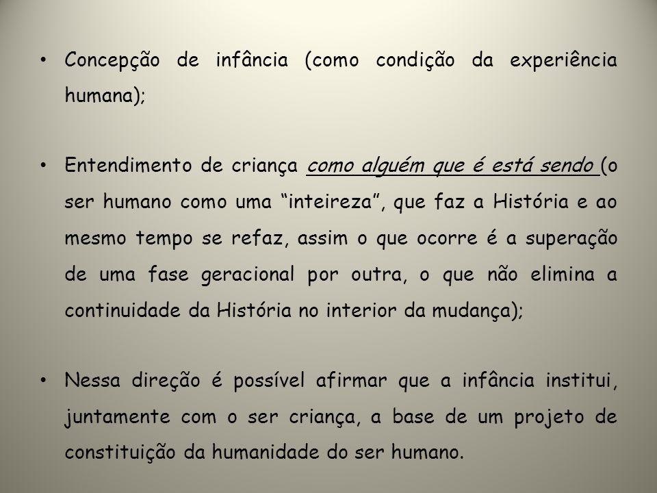 Concepção de infância (como condição da experiência humana);