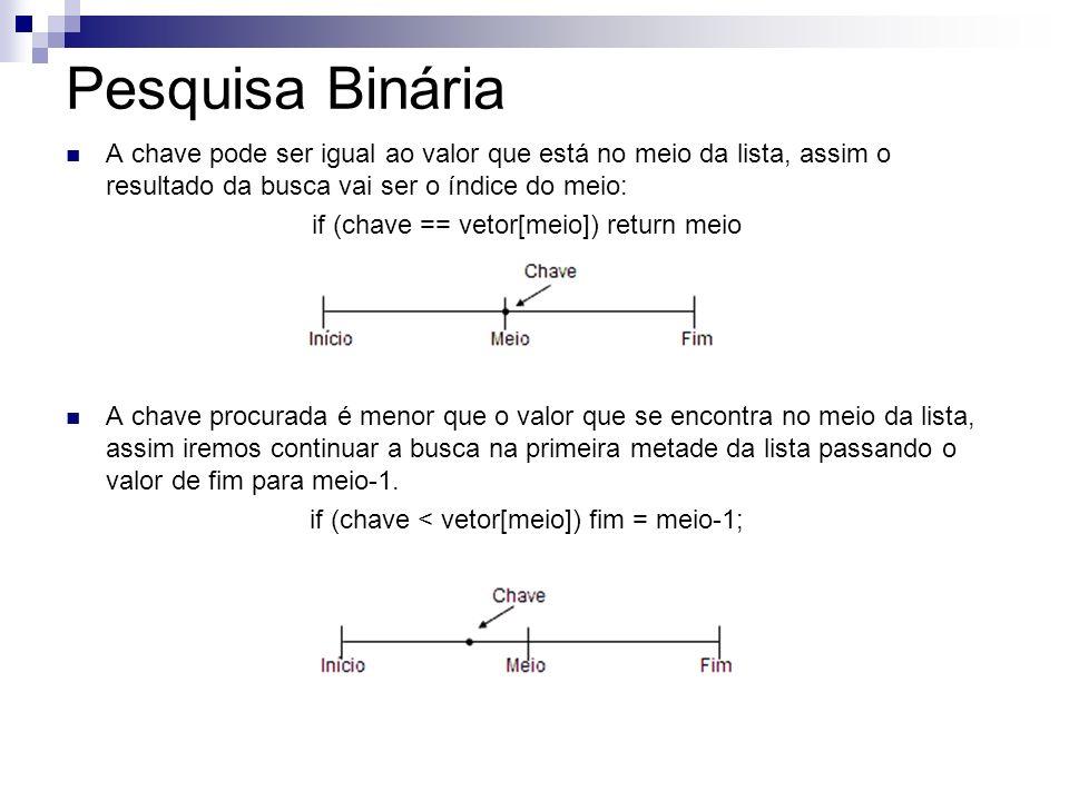 Pesquisa Binária A chave pode ser igual ao valor que está no meio da lista, assim o resultado da busca vai ser o índice do meio: