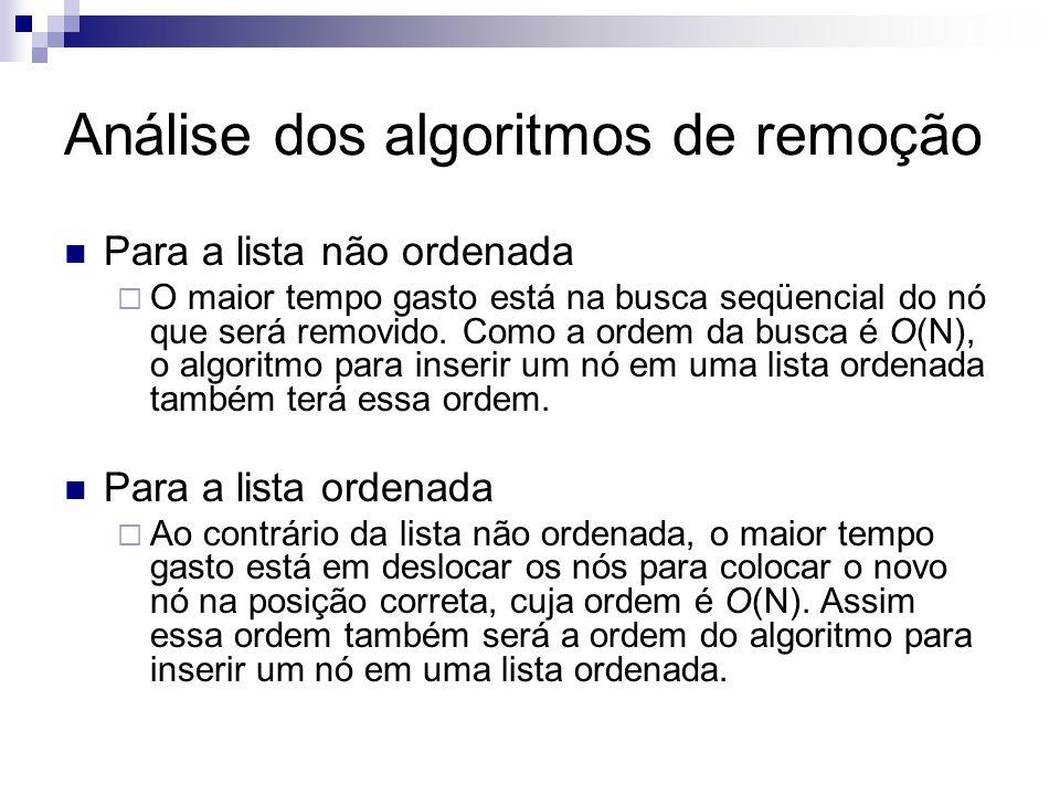 Análise dos algoritmos de remoção