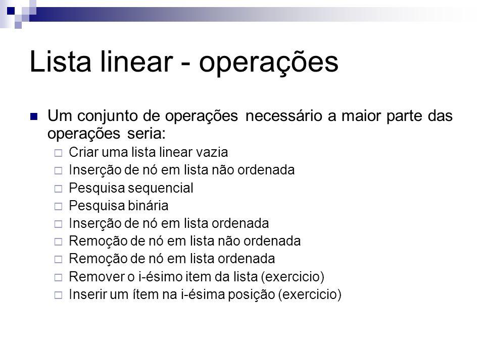 Lista linear - operações