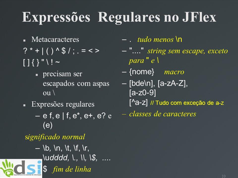 Expressões Regulares no JFlex