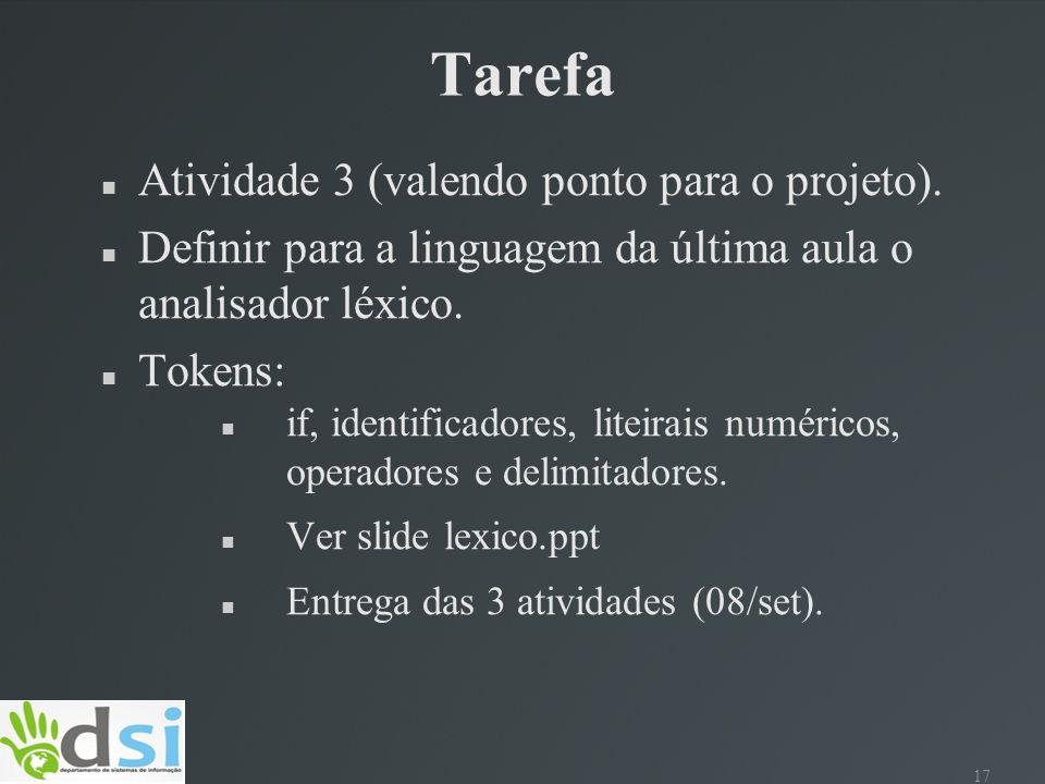 Tarefa Atividade 3 (valendo ponto para o projeto).