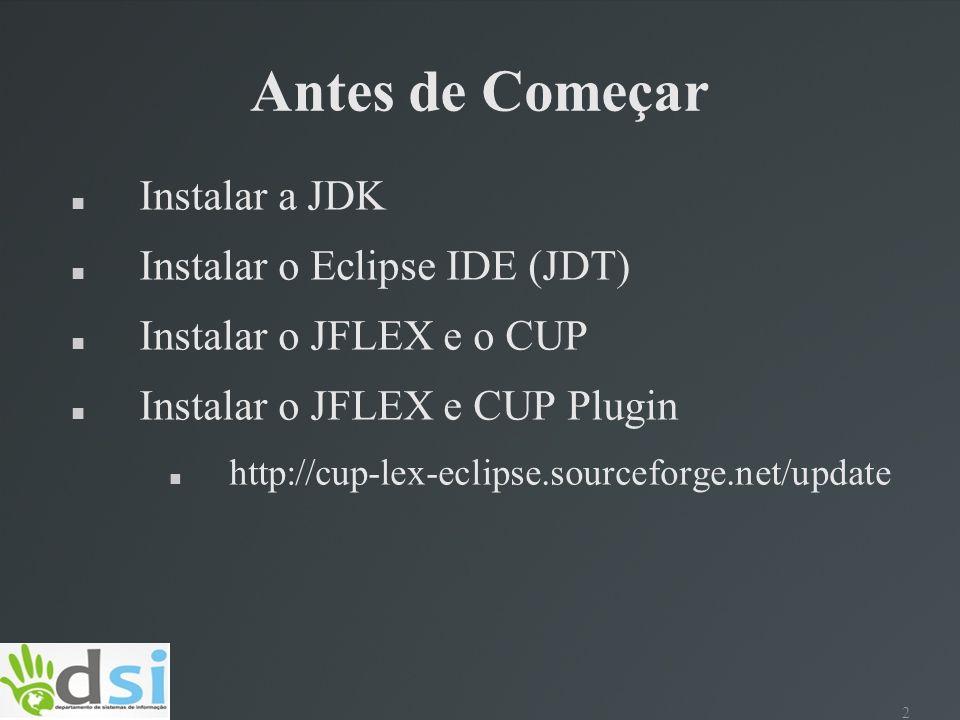 Antes de Começar Instalar a JDK Instalar o Eclipse IDE (JDT)