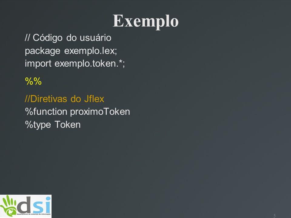 Exemplo // Código do usuário package exemplo.lex;