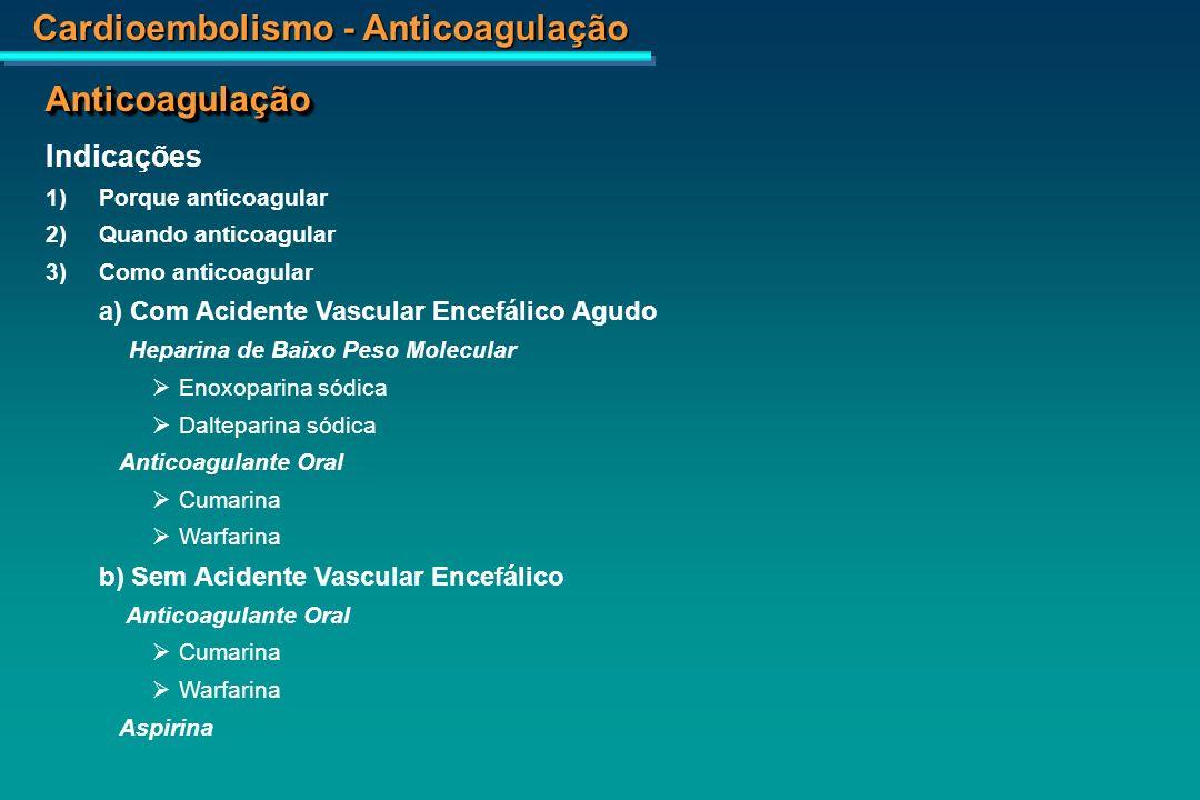 Anticoagulação Indicações 1) Porque anticoagular