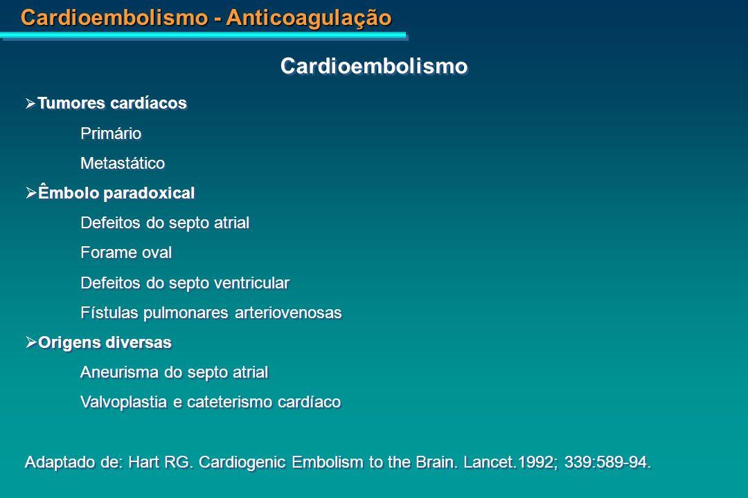 Cardioembolismo Primário Metastático Êmbolo paradoxical