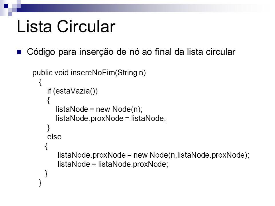 Lista Circular Código para inserção de nó ao final da lista circular