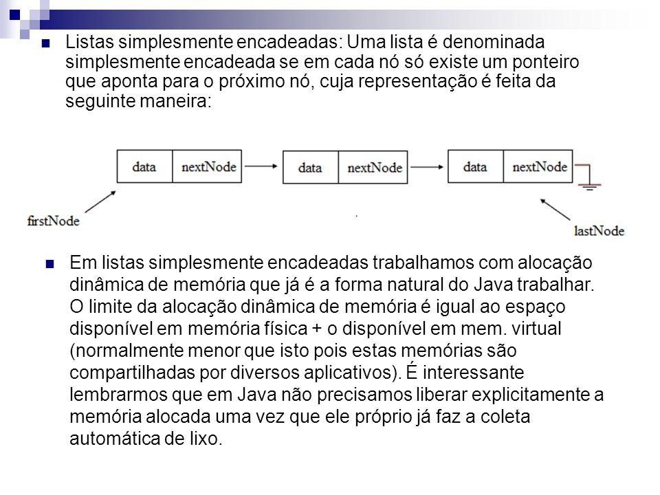 Listas simplesmente encadeadas: Uma lista é denominada simplesmente encadeada se em cada nó só existe um ponteiro que aponta para o próximo nó, cuja representação é feita da seguinte maneira: