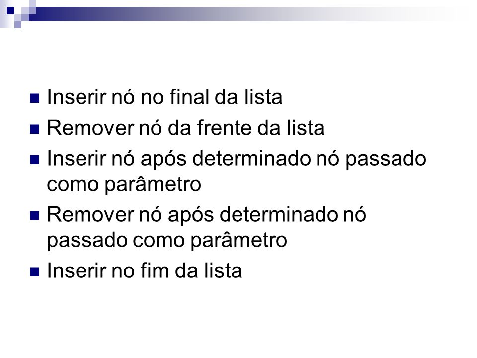 Inserir nó no final da lista