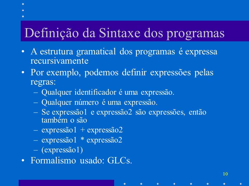 Definição da Sintaxe dos programas
