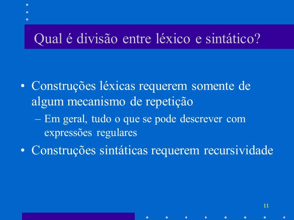 Qual é divisão entre léxico e sintático