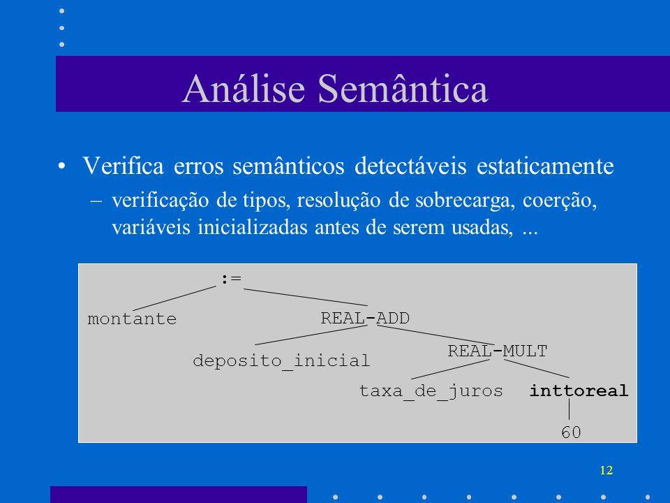Análise Semântica Verifica erros semânticos detectáveis estaticamente