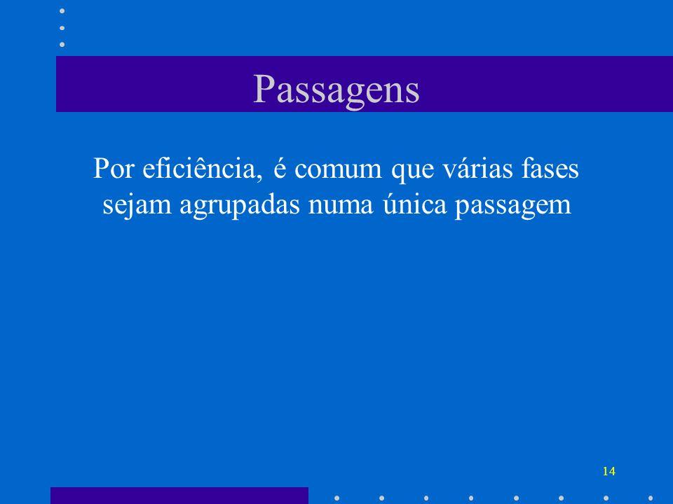 Passagens Por eficiência, é comum que várias fases sejam agrupadas numa única passagem