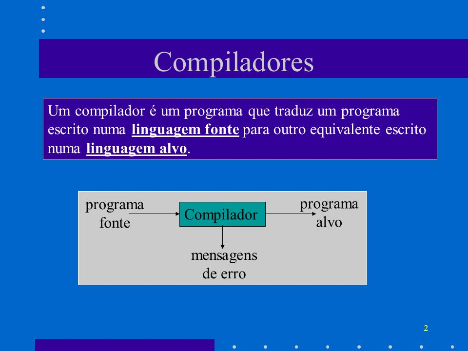 Compiladores Um compilador é um programa que traduz um programa escrito numa linguagem fonte para outro equivalente escrito numa linguagem alvo.