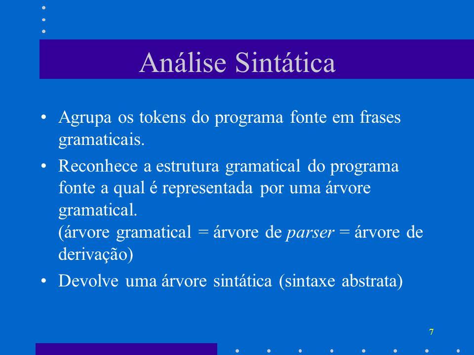 Análise Sintática Agrupa os tokens do programa fonte em frases gramaticais.