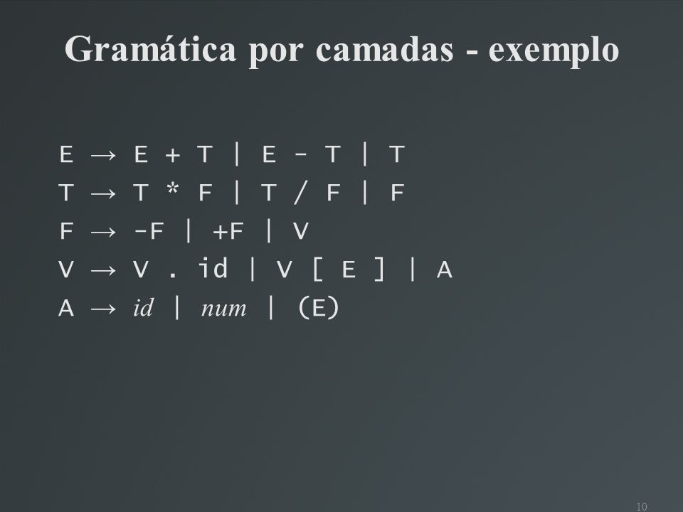 Gramática por camadas - exemplo