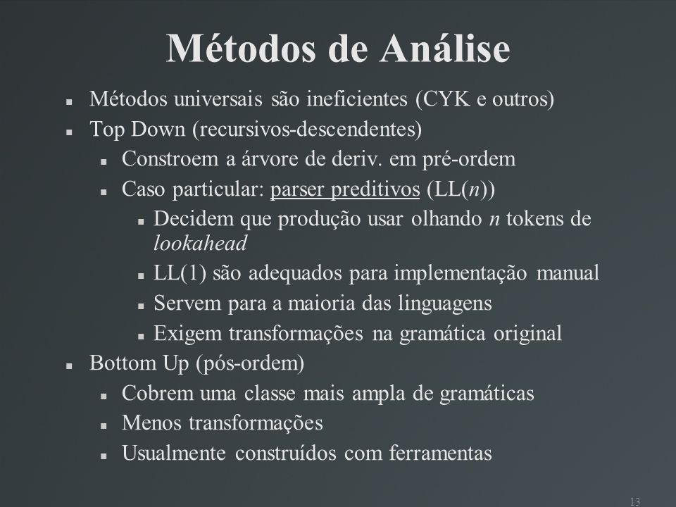 Métodos de Análise Métodos universais são ineficientes (CYK e outros)