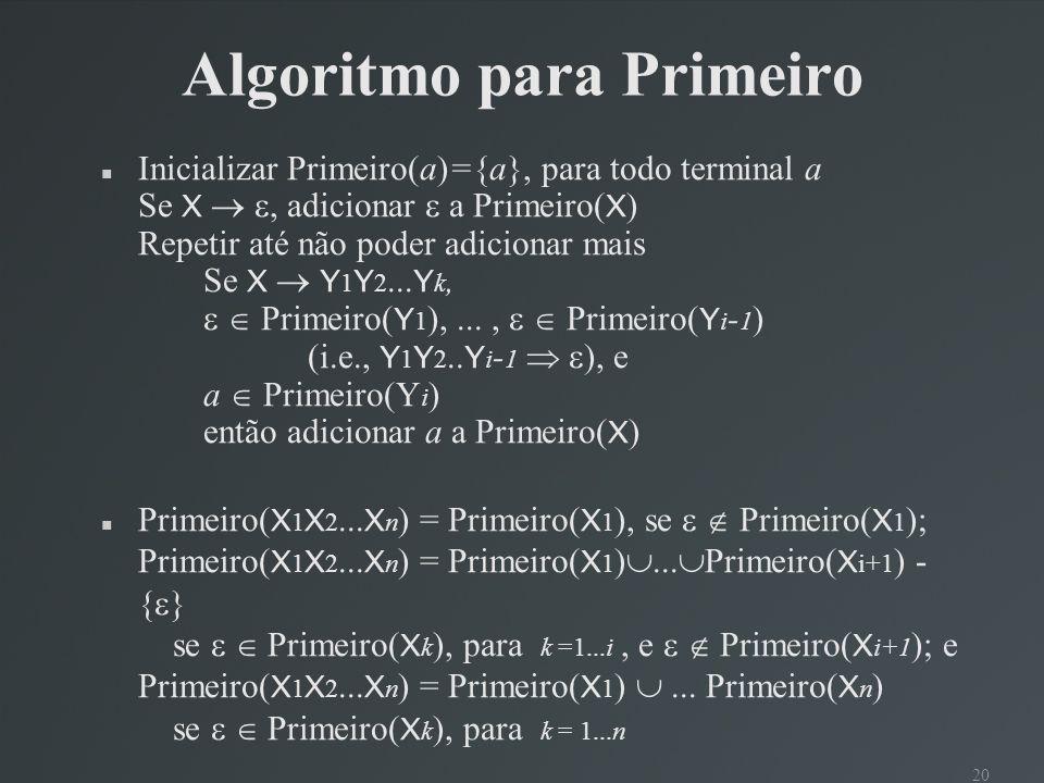 Algoritmo para Primeiro