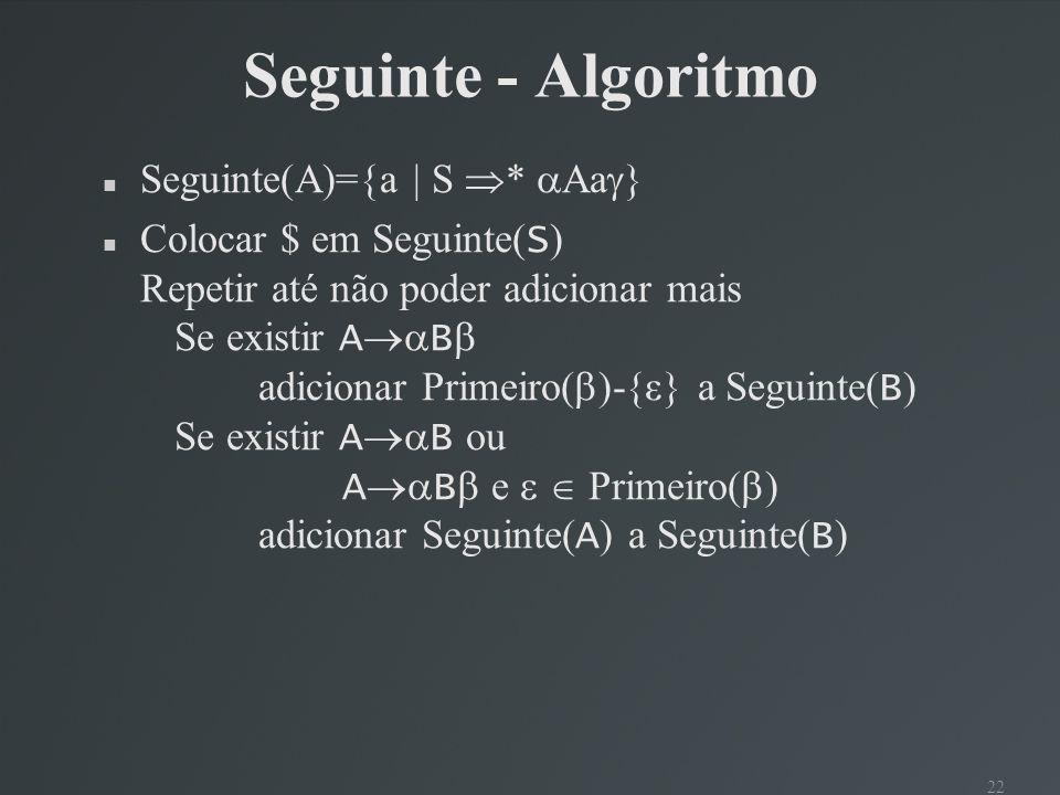 Seguinte - Algoritmo Seguinte(A)={a | S * Aa}