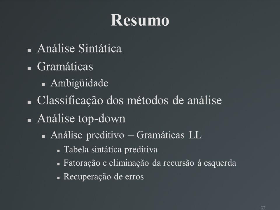 Resumo Análise Sintática Gramáticas
