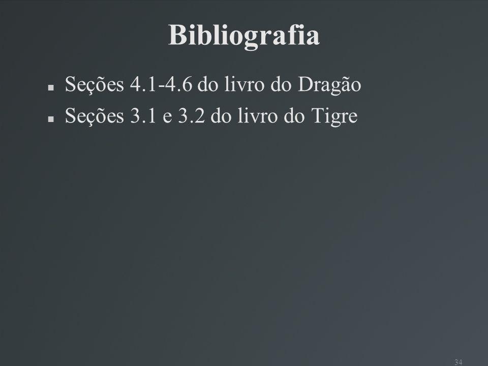 Bibliografia Seções 4.1-4.6 do livro do Dragão