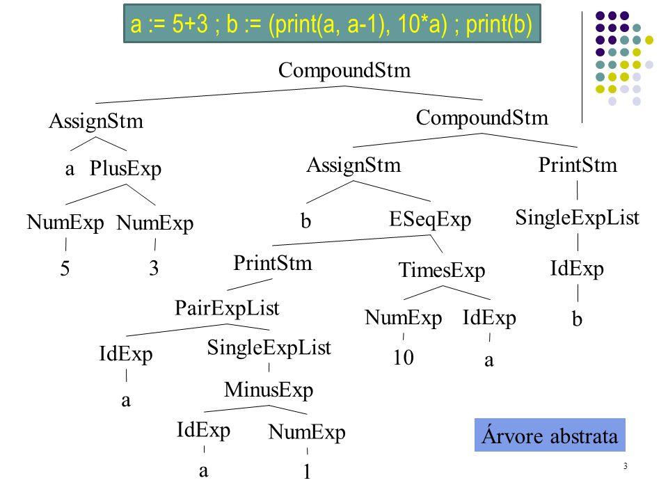 a := 5+3 ; b := (print(a, a-1), 10*a) ; print(b)
