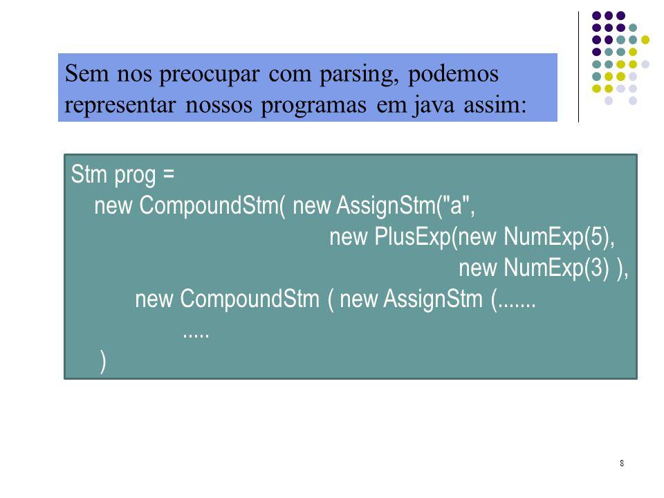 Sem nos preocupar com parsing, podemos representar nossos programas em java assim: