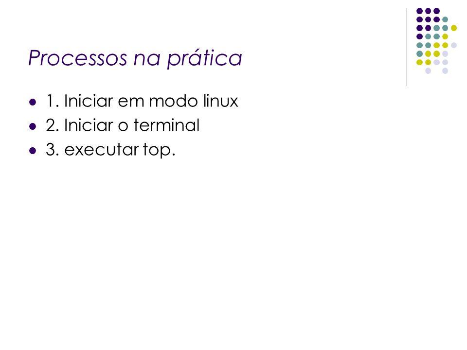 Processos na prática 1. Iniciar em modo linux 2. Iniciar o terminal
