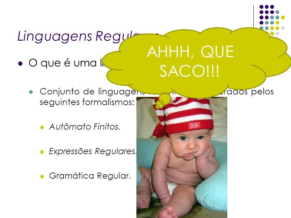 AHHH, QUE SACO!!! Linguagens Regulares O que é uma linguagem regular