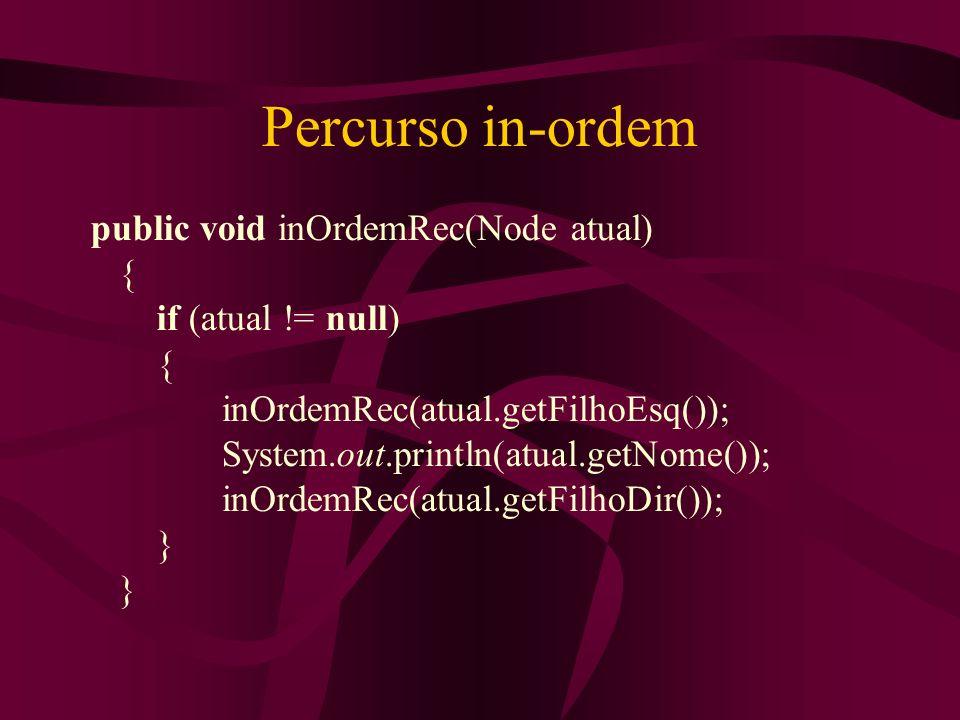 Percurso in-ordem public void inOrdemRec(Node atual) {