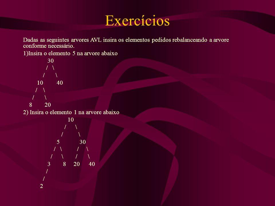 Exercícios Dadas as seguintes arvores AVL insira os elementos pedidos rebalanceando a arvore conforme necessário.